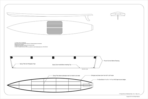 making a surfboard template - a25 1400p voyager 14 planset stitch and glue